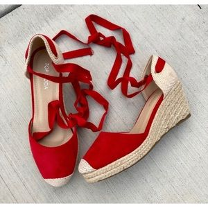 NEW! Top Moda Ankle Tie Red Espadrille Wedges
